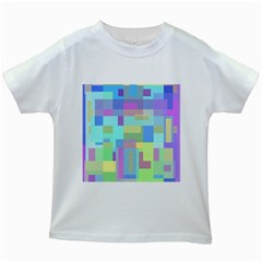 Pastel Geometrical Desing Kids White T Shirts by Valentinaart