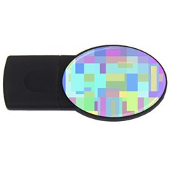 Pastel Geometrical Desing Usb Flash Drive Oval (2 Gb)  by Valentinaart