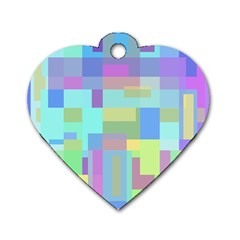 Pastel Geometrical Desing Dog Tag Heart (one Side) by Valentinaart