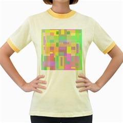 Pastel Colorful Design Women s Fitted Ringer T Shirts
