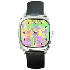 Pastel Colorful Design Square Metal Watch by Valentinaart