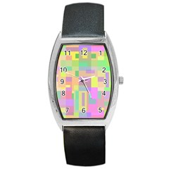 Pastel Colorful Design Barrel Style Metal Watch by Valentinaart