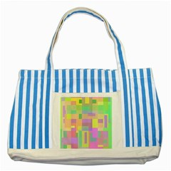 Pastel Colorful Design Striped Blue Tote Bag by Valentinaart