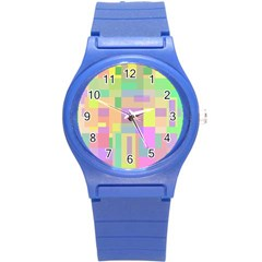 Pastel Colorful Design Round Plastic Sport Watch (s) by Valentinaart