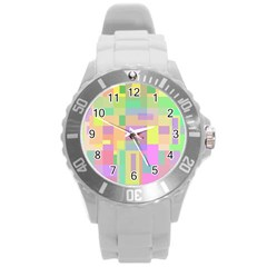 Pastel Colorful Design Round Plastic Sport Watch (l) by Valentinaart