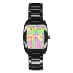 Pastel Colorful Design Stainless Steel Barrel Watch by Valentinaart