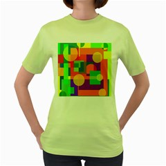 Colorful Geometrical Design Women s Green T Shirt by Valentinaart