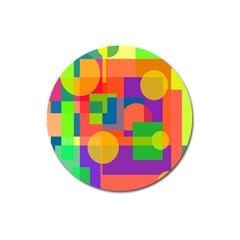 Colorful Geometrical Design Magnet 3  (round) by Valentinaart