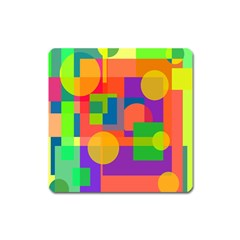 Colorful Geometrical Design Square Magnet by Valentinaart