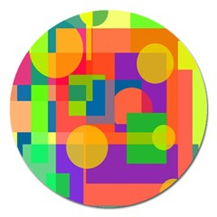 Colorful Geometrical Design Magnet 5  (round) by Valentinaart