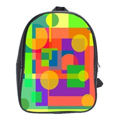 Colorful Geometrical Design School Bags (xl)  by Valentinaart