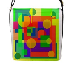 Colorful Geometrical Design Flap Messenger Bag (l)  by Valentinaart