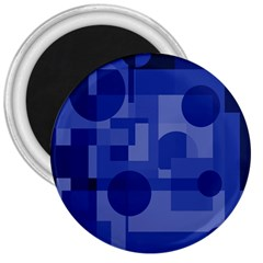 Deep Blue Abstract Design 3  Magnets by Valentinaart