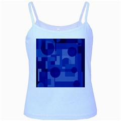 Deep Blue Abstract Design Baby Blue Spaghetti Tank by Valentinaart