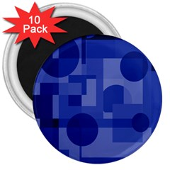Deep Blue Abstract Design 3  Magnets (10 Pack)  by Valentinaart