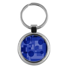 Deep Blue Abstract Design Key Chains (round)  by Valentinaart