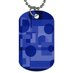 Deep Blue Abstract Design Dog Tag (one Side) by Valentinaart