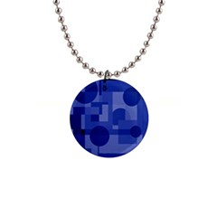 Deep Blue Abstract Design Button Necklaces by Valentinaart