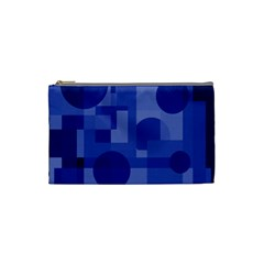 Deep Blue Abstract Design Cosmetic Bag (small)  by Valentinaart