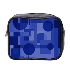 Deep Blue Abstract Design Mini Toiletries Bag 2-side by Valentinaart