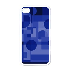 Deep Blue Abstract Design Apple Iphone 4 Case (white) by Valentinaart