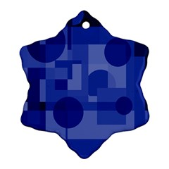 Deep Blue Abstract Design Ornament (snowflake)  by Valentinaart