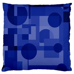 Deep Blue Abstract Design Large Cushion Case (one Side) by Valentinaart