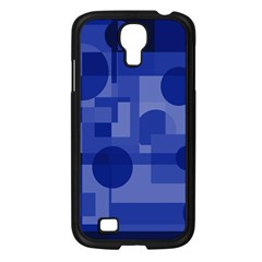 Deep Blue Abstract Design Samsung Galaxy S4 I9500/ I9505 Case (black) by Valentinaart