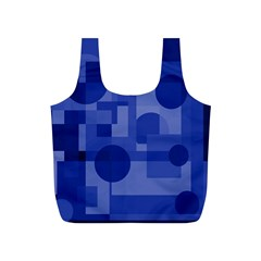 Deep Blue Abstract Design Full Print Recycle Bags (s)  by Valentinaart