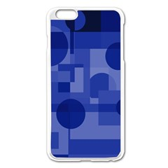 Deep Blue Abstract Design Apple Iphone 6 Plus/6s Plus Enamel White Case by Valentinaart