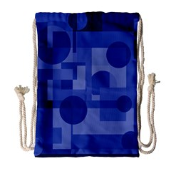 Deep Blue Abstract Design Drawstring Bag (large) by Valentinaart
