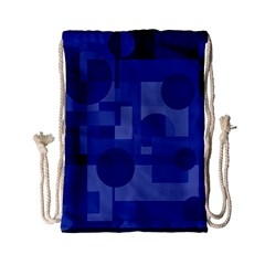 Deep Blue Abstract Design Drawstring Bag (small) by Valentinaart