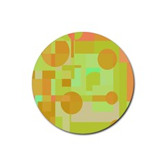 Green And Orange Decorative Design Rubber Round Coaster (4 Pack)  by Valentinaart