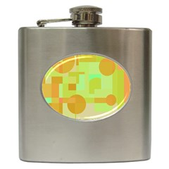 Green And Orange Decorative Design Hip Flask (6 Oz) by Valentinaart
