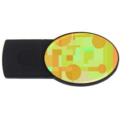 Green And Orange Decorative Design Usb Flash Drive Oval (2 Gb)  by Valentinaart