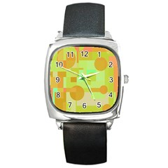Green And Orange Decorative Design Square Metal Watch by Valentinaart