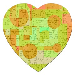 Green And Orange Decorative Design Jigsaw Puzzle (heart) by Valentinaart