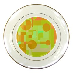 Green And Orange Decorative Design Porcelain Plates by Valentinaart