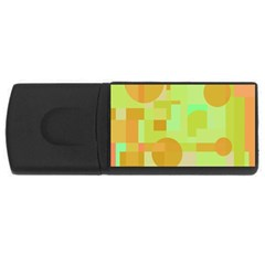 Green And Orange Decorative Design Usb Flash Drive Rectangular (4 Gb)  by Valentinaart