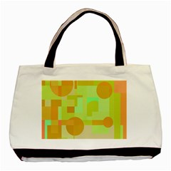 Green And Orange Decorative Design Basic Tote Bag by Valentinaart
