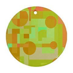 Green And Orange Decorative Design Round Ornament (two Sides)