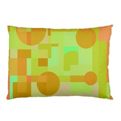 Green And Orange Decorative Design Pillow Case by Valentinaart