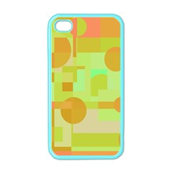Green And Orange Decorative Design Apple Iphone 4 Case (color) by Valentinaart