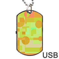Green And Orange Decorative Design Dog Tag Usb Flash (one Side) by Valentinaart
