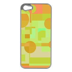 Green And Orange Decorative Design Apple Iphone 5 Case (silver) by Valentinaart