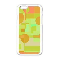Green And Orange Decorative Design Apple Iphone 6/6s White Enamel Case by Valentinaart