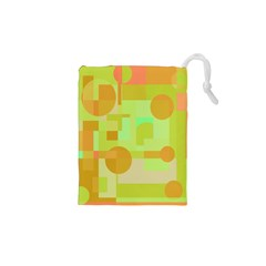Green And Orange Decorative Design Drawstring Pouches (xs)  by Valentinaart