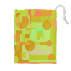 Green And Orange Decorative Design Drawstring Pouches (extra Large) by Valentinaart