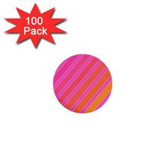 Pink Elegant Lines 1  Mini Buttons (100 Pack)  by Valentinaart