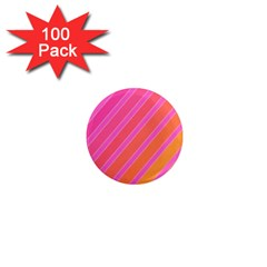 Pink Elegant Lines 1  Mini Magnets (100 Pack)  by Valentinaart
